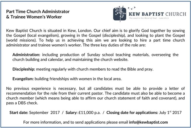 part time administrator trainee womens worker kew baptist - Church Administrator Salary
