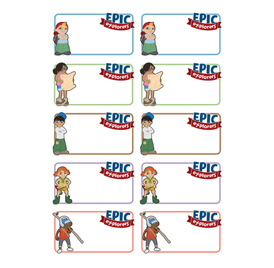 Epic Explorers Name Stickers (Pack of 5 Sheets)